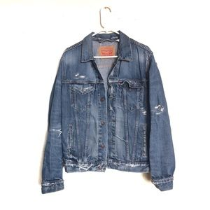 Levi's Distressed Oversized Denim Trucker Jacket